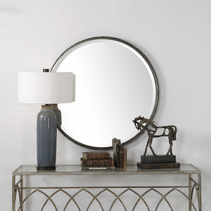 Oversized Industrial Round Mirror with Sculptural Edge