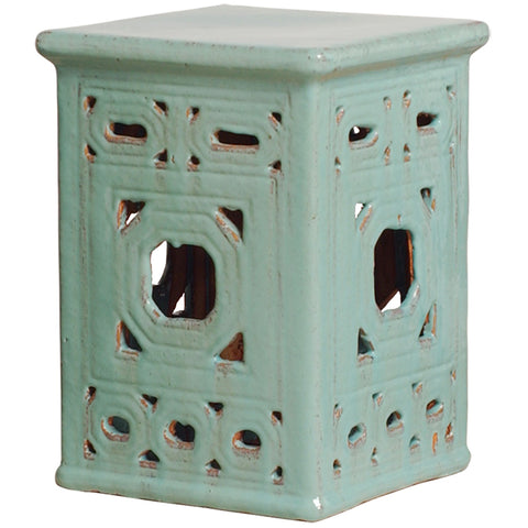 Distressed Lattice Garden Stool - Pale Turquoise