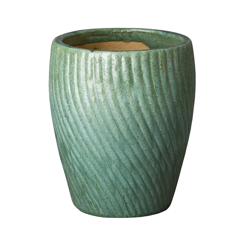 Spiral Pattern Round Planter with Mint Green Glaze- Small