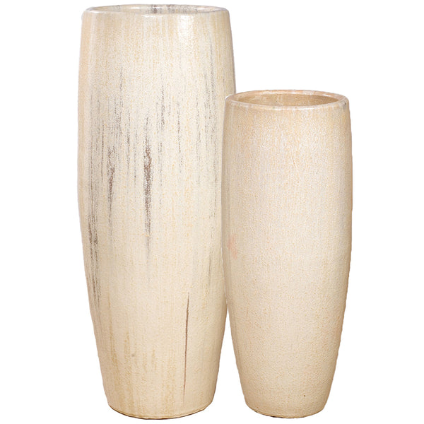 Tall Cylinder Ceramic Planter - Cream