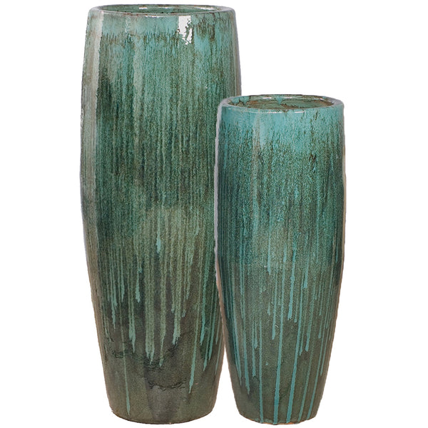 Tall Cylinder Ceramic Planter - Teal