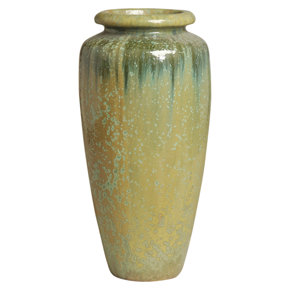 Classic Ceramic Jar with Lip – Moss Crystal