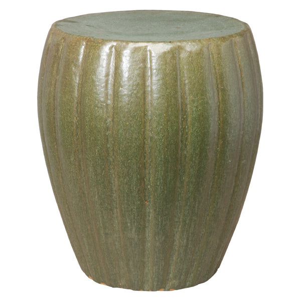 Ridged Cylindrical Garden Stool – Metallic Mint