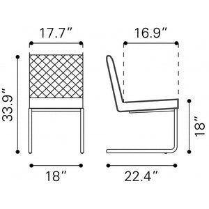 Quilt Armless Dining Chair White (Set of 2) - White