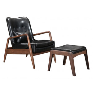 Bully Lounge Chair & Ottoman Black - Black