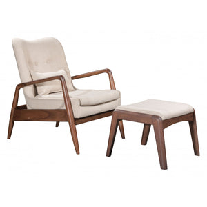Bully Lounge Chair & Ottoman Beige - Beige