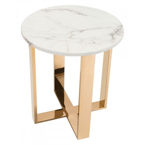 Atlas End Table - White & Gold