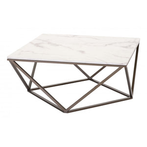 Tintern Coffee Table Stone & Stone & Antique Brass - Stone & Antique Brass