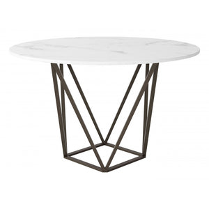 Tintern Dining Table Stone & Antique Brass - Stone & Antique Brass