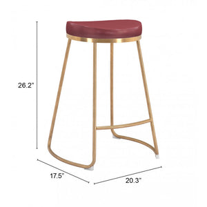 Bree Counter Stool Burgundy  (Set of 2) - Burgundy