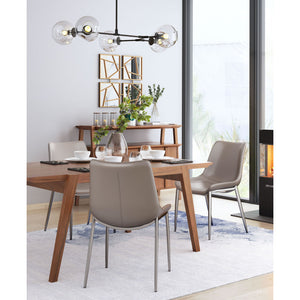 Magnus Dining Chair Gray & Brushed Stainless Steel (Set of 2) - Gray & Brushed Stainless Steel