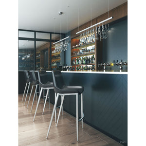 Magnus Bar Chair Black & Brushed Stainless Steel (Set of 2) - Black & Brushed Stainless Steel