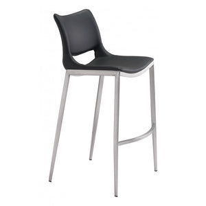 Ace Brushed Stainless Steel Bar Chair (Set of 2) - Black