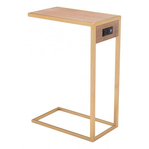 Ike Side Table  - Wood & Gold