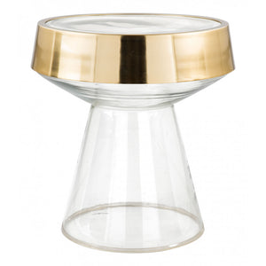 Skya Side Table  - Clear Glass & Gold