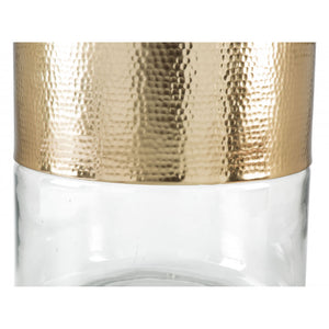 Cannon Side Table  - Clear & Gold