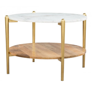 Mina Coffee Table - White Marble, Wood & Gold