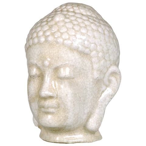Buddha Head - White Crackle Glaze