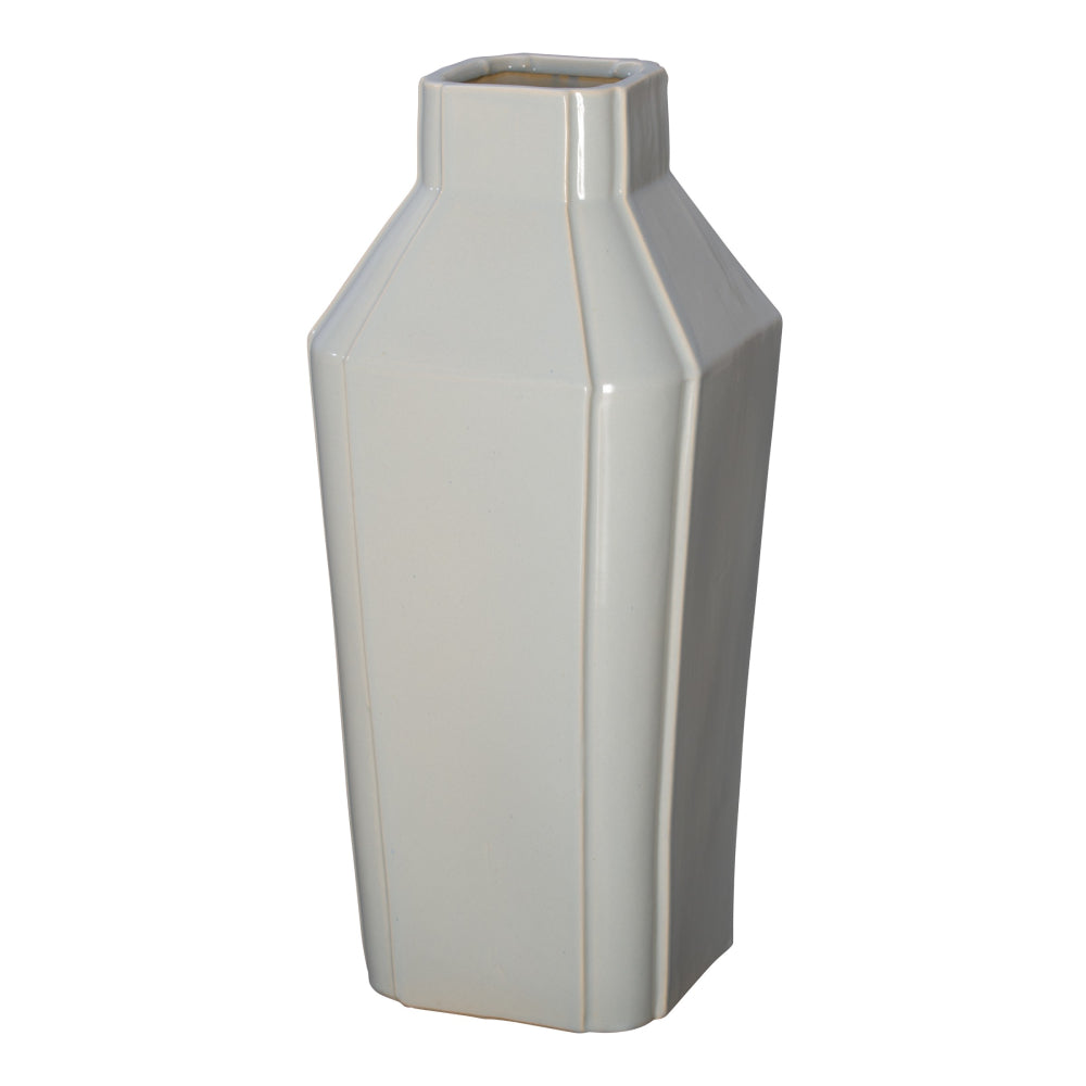 Quadrant Neck Ceramic Vase  – Grey