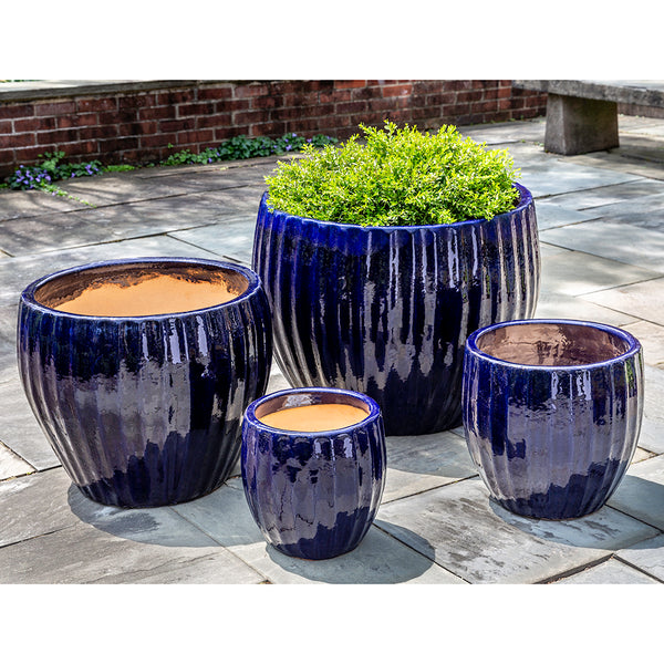 Sapphire Short Glazed Barrel Planters – Set of 4