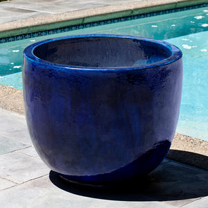 Riviera Blue Glazed Terra Cotta Barrel Planter – Large