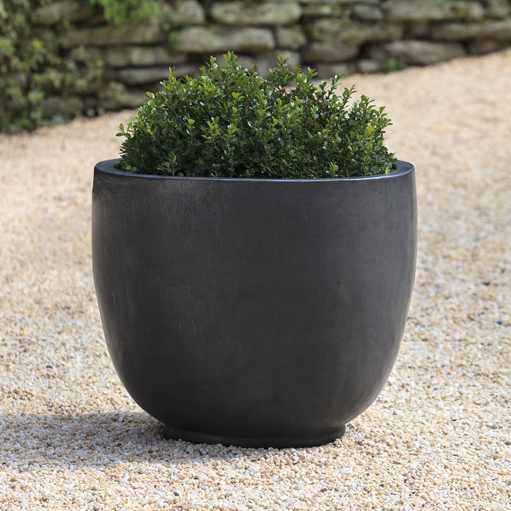 Graphite Glazed Terra Cotta Barrel Planter – Medium