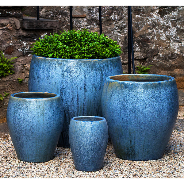 Large Blue Pearl Tapered Planters – Set of 4