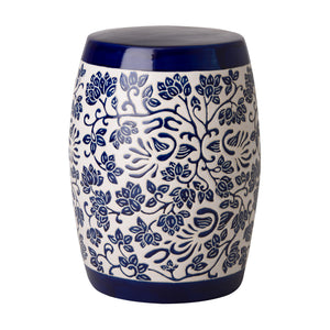Amarante Garden Stool – Blue & White