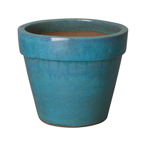 Medium Round Planter with Teal Glaze