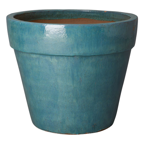 Extra Large Round Planter with Teal Glaze