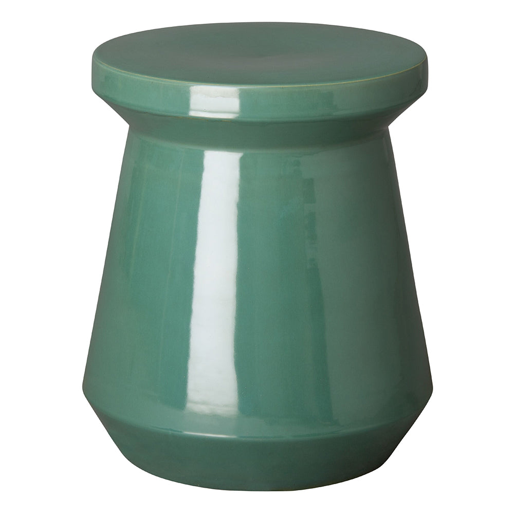 Round Garden Stool with Glossy Glaze - Teal