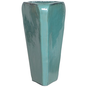 Tall Triangle Ceramic Planter - Teal