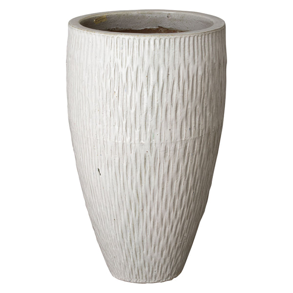 Large Textured Tapering Planter – Distressed White