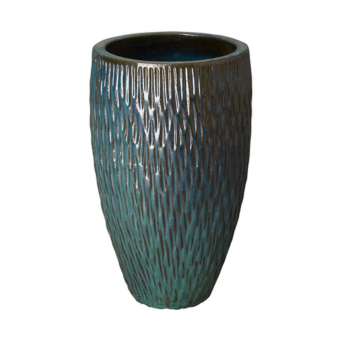 Medium Textured Tapering Planter – Teal
