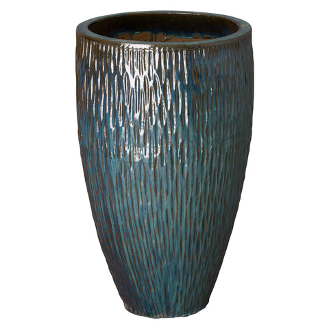 Large Textured Tapering Planter – Teal