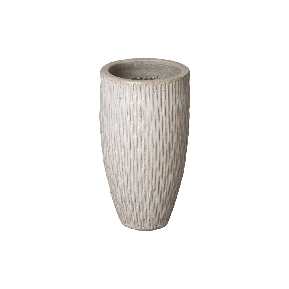 Tall Textured Ceramic Pot in Distressed White – Small