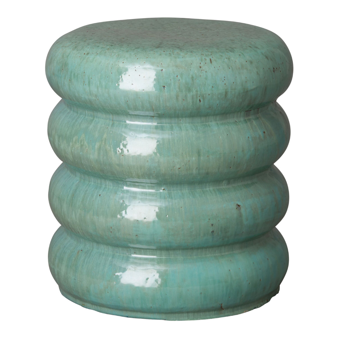 Stacked Disks Garden Stool  - Jade Green