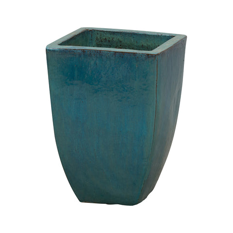 Tapered Square Planter with Teal Glaze – Small