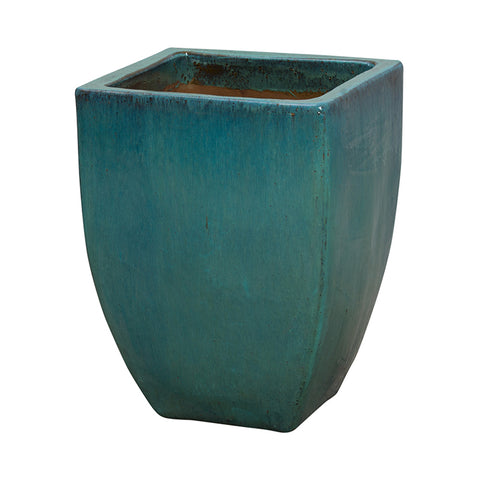 Tapered Square Planter with Teal Glaze – Medium