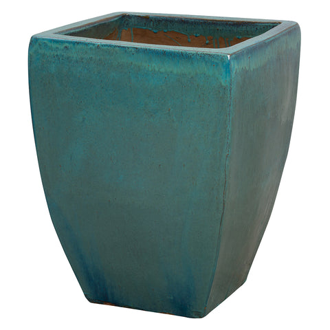 Tapered Square Planter with Teal Glaze – Large