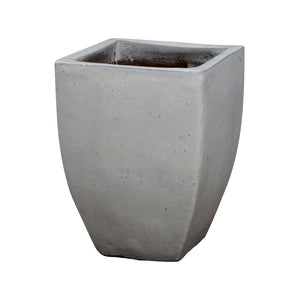 Large Tapered Square Ceramic Planter - White Glaze