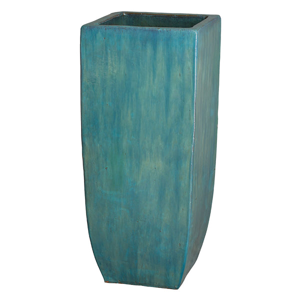 Tall Square Planter with Teal Glaze – Large
