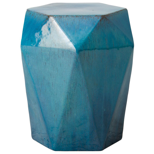 Faceted Garden Stool/Table – Deep Turquoise