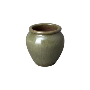 Round Planter with Rolled Edge – Tea Green