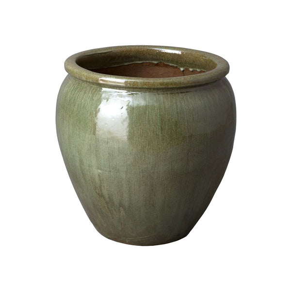 Medium Round Planter with Rolled Edge – Tea Green