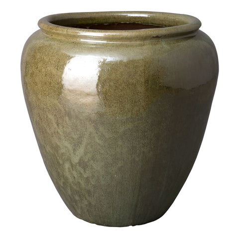 Large Round Planter with Rolled Edge – Tea Green