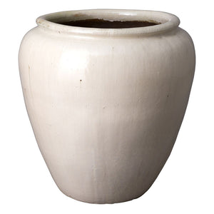 Large Round Planter with Rolled Edge – White