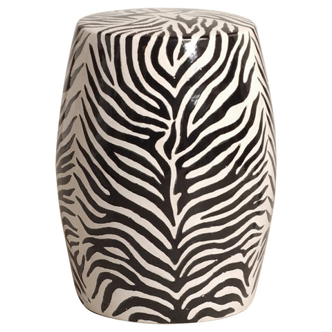 Zebra Garden Stool - Black & White