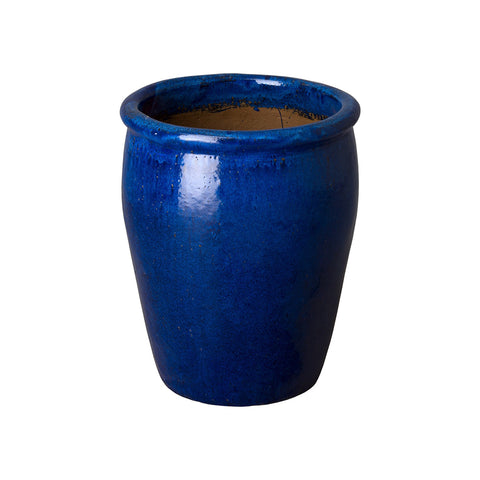 Small Round Planter with Rolled Edge – Blue