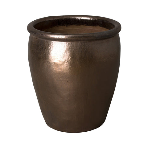Medium Round Planter with Rolled Edge – Metallic Brown